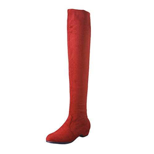 Botas de Mujer Sobre la Rodilla - Botas Altas Estiramiento elásticas Botas Cabeza Redonda -Botas Planas-Botas de Cuero de terciopelo/rojo/39/245