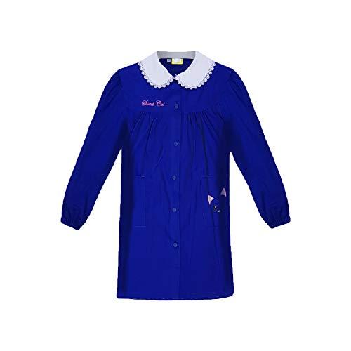 Grembiule scuola bimba elementare con bottoni blu e bianco art. 847 (70, blu)