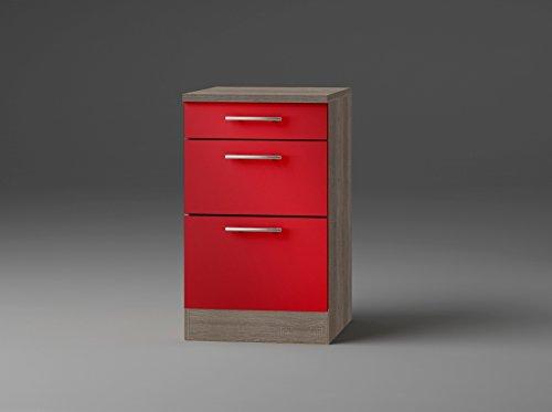 idealShopping GmbH Schubladenunterschrank mit Arbeitsplatte U536-9 in rot glänzend