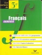 Français, 3e, carnet d'exercices