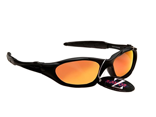 Rayzor Professionelle Leichte UV400 Schwarz Sports Wrap Laufen Sonnenbrille, mit einem roten Iridium Mirrored Blend Lens.