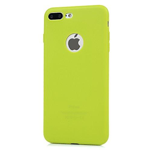 iPhone 7 Plus Hülle Kasos iPhone 7 Plus 5,5 Zoll Schutzhülle Schrubben TPU Silikon Case Ultra Dünn Handy Cover Handytasche Softcover in Schwarz Grün Gelb