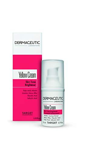 Glykolsäure Pigmentierung (Dermaceutic Yellow Cream - Teint-Aufheller - Aufhellende Gesichtscreme bei einem unregelmäßigen Teint - Pigmentierungscreme - Enthält Kojisäure, Arbutin, Süßholzextrakt, Glykolsäure und Salicylsäure - 15 ml)