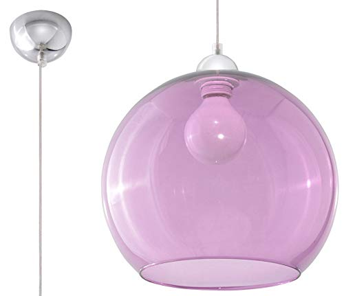 SOLLUX lighting BALL Pendelleuchte, Glas, Violet/Chrome