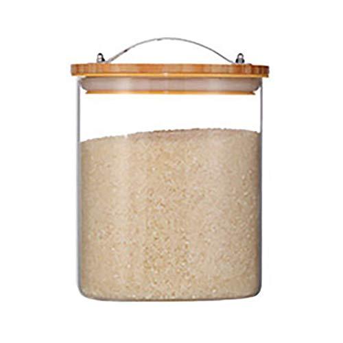 CASILE Große Kapazität luftdicht Müsli Behälter Aufbewahrung - Glas Küche Pantry Container Mit Auslassventil für Mehl, Zucker, Reis etc. 3L