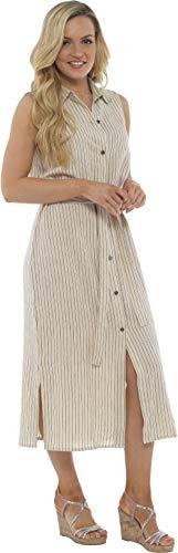 8c6dc8f191391c ... Leinen ärmelloses langes Hemdkleid | Knopf durch Tunika mit passendem  Gürtel | Petite Bis Plus Kleider Größe Damenmode Erhältlich (48, Beige  Streifen)