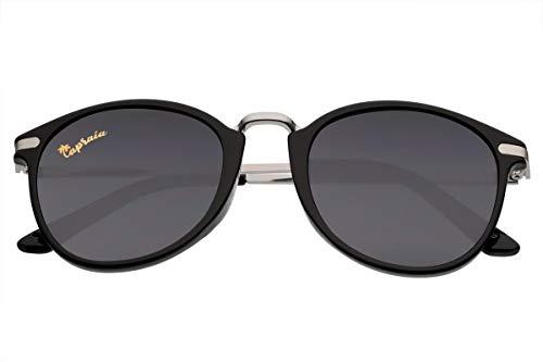 Capraia Molinara Retro Round Classic Sunglasses Ultra Light High Quality TR90 Black Frame and Dark Polarised Lenses UV400 protected Mens Womens