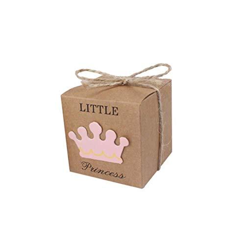 10 stücke braun papier süßigkeiten geschenkboxen diy retro kraftpapier verpackungsboxen mit seil for baby Douche party hochzeit gefälligkeiten liefert (prinzessin krone muster) Für Weihnachten, Kind