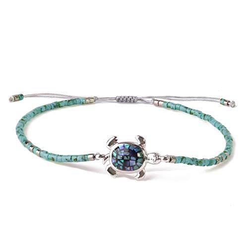KELITCH Abalone Schale Wulstig Armband Einstellbar Knoten Schildkröte Anhänger Samen Perlen Wickeln Armband Freundschaft Schmuck (Blau)