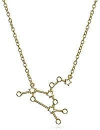 Bling Jewelry Chapado en oro Constelación del zodiaco colgante collar 16en