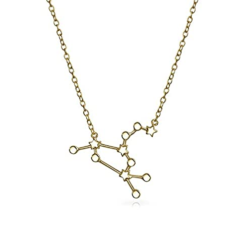 Leo Zodiac Constellation Gold Plated Pendant Necklace 16in