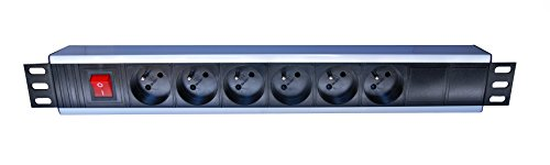 Distribution Racks, Zubehör (linxcom UK - 1U 48,3 cm Rack Mount 6 Way Power Distribution Unit PDU Schuko Plug & Sockets)