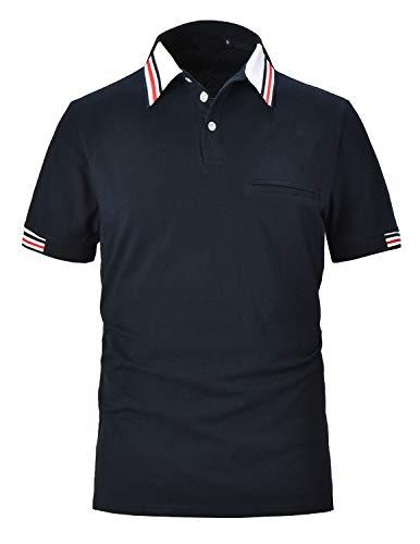 PIPIHU Herren Baumwolle Poloshirt Gerippte Basic Polohemd Kurzarm Golf Polo Shirt Blau X-Large - Schulter Halb Ärmel