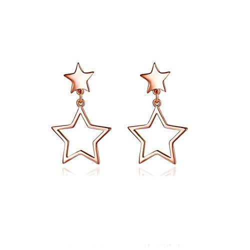 ung Ohrhänger Damen Ohrringe Rosegold Sterne mit Hohl Pentagramm Durchzieher Für Frauen Ohrschmuck Verlobung ()