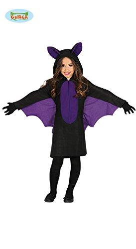 Fledermaus Kostüm mit Flügeln für Mädchen Kinder Halloween swarz lila Kleid Gr. 98-146, Größe:128/134 (Kostüm Für Halloween Für Mädchen)