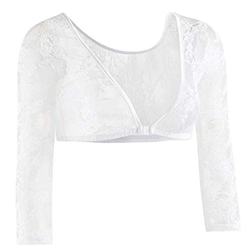 Bobopai 1Pack Plus Size Seamless Arm Shaper Long Sleeve Lace V-Neck Perspective Cardigan Underwear Top for Women Ladies (White)