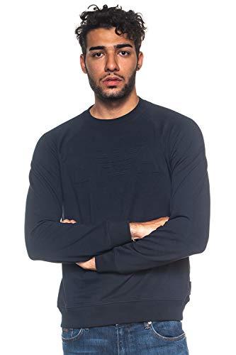 Armani jeans armani uomo felpa logo in rilievo l blu marino