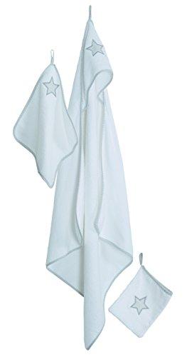 roba Handtuch Set 'Little Stars', 3tlg, Baby Waschset, hochwertiges Frottee, Kapuzenhandtuch, Handtuch 30x30 cm, Waschlappen mit Sternen zum Baden und Pflegen