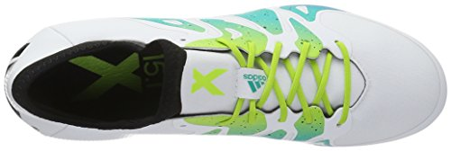 adidas X 15.1 Fg/Ag, Chaussures de Football Compétition Homme Blanc (Ftwr White/Semi Solar Slime/Core Black)