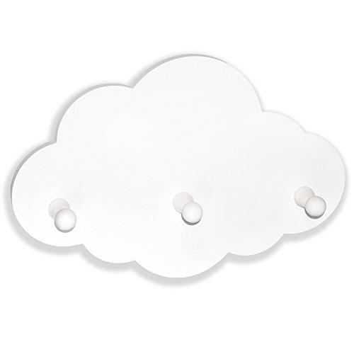Luvel - Kindergarderobe mit 3 Haken, Kinderregal - Maße Wolke : 30 x 20 x 1 cm - weiß