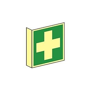 Fahnenrettungsschild als Symbol Erste Hilfe nach ISO 7010, Beschreibung:150x150mm