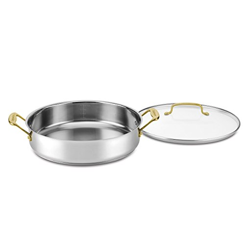 Cuisinart C7M55-30GD Mineral Collection Casserole with Cover, Medium, Stainless Steel Casserole Cover
