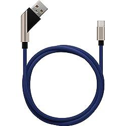 Sweet Tech Câble 2.4A Micro USB Rapide Chargeur Adaptateur Données - Bleu pour Klipad 6 inch 3G 4G Smartphone