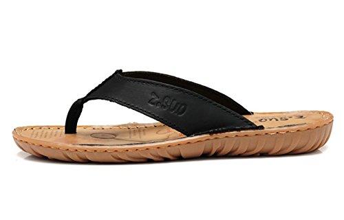 Insun Herren Crazy Horse Zehentrenner Slingback Normal Flach Sandalen Flip Flops Schwarz