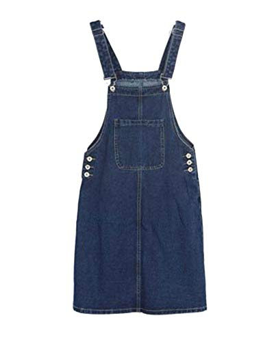 Damen Jeansrock Latzrock Jeanskleid Rock Jeans Blau