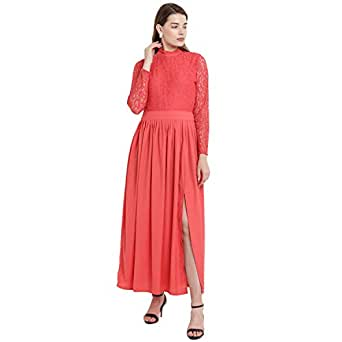 Abiti Bella Women's Summer Cool Fit & Flare Dress (Coral, ABDR20001-S)