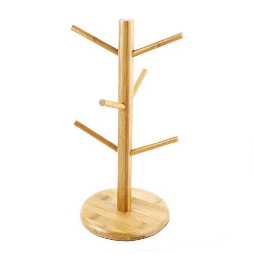 sourcingmap® Suspension en bambou à personne café thé Tasse Tasse en verre Support porte arbre