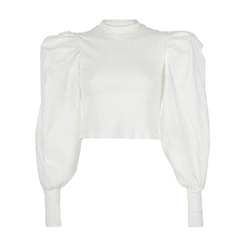 BingSai Women's Casual Pullover Slim Fit Knitted Turtleneck Warm Long Puff Sleeve Sweatshirt Corp Tops White XS -