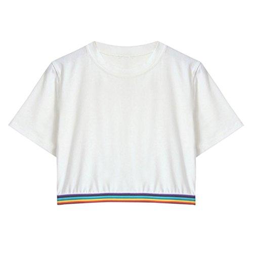 bda9c1b190 Homebaby® T Shirt Donna Vintage - Arcobaleno Stampato Maglietta Donna  Manica Corta Elegante - Top Tumblr Estiva Particolari Magliette Corte  Ragazza Tumblr ...
