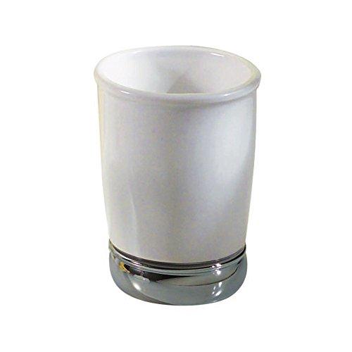 InterDesign York Trinkbecher, praktischer Becher zur Aufbewahrung aus Keramik und Metall, weiß/silberfarben