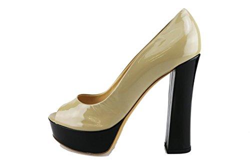DEL GATTO sandali donna 40 EU beige vernice nero AG604