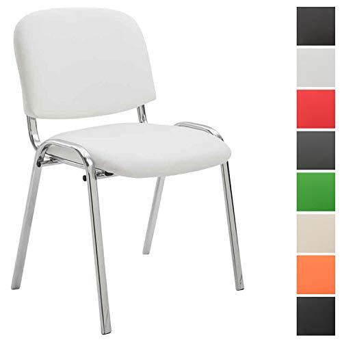 Clp sedia visitatore ken c imbottita | sedia attesa in similpelle e metallo cromato | sedia impilabile portata max 120 kg | sedia classica riunioni con telaio 4 gambe | sedia conferenza bianco