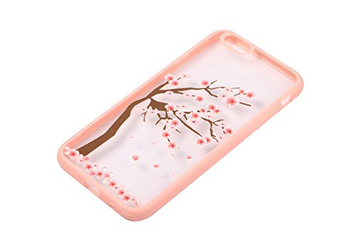 SpiritSun Kirsche Serie Hülle für iPhone 6 Plus/iPhone 6S Plus (5.5 zoll) Weich Silikon Schutzhülle Transparent PC Hart Zurück Schutz Hülle Rosa Blume Handyhülle Ultradünnen Schale Leichtgewicht Tasch Kirschbaum 2
