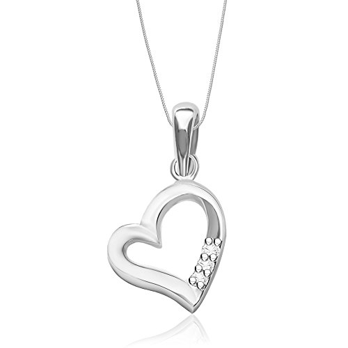 Taraash Sterling Silver CZ Three Stone Heart Shape Pendant with Chain for Women Combo PDCH 98