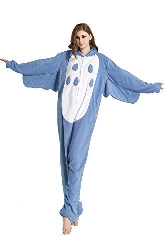 URVIP Erwachsene Unisex Jumpsuit Tier Cartoon Fasching Halloween Pyjama Kostüm Onesie Fleece-Overall Schlafanzug Eule ()