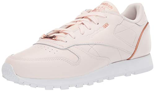 Reebok Women's CL LTHR HW Sneaker, Pale Pink/White/Rose Gold, 6 M US