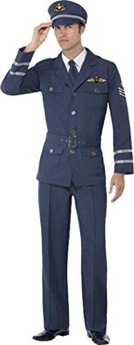 Smiffys Erwachsene 1940er Kriegszeit Fancy Kleid 2. Weltkrieg Air Force Captain Kostüm Komplettes Outfit, Blau