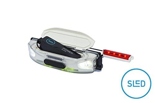 SLED - die Stirn-Lampe für Schlitten und Rodel, mit RGB LED, Akku aufladbar mit USB, 400 Lumen, wasserdicht, passt auf Kathrein Torggler Gasser Fluckinger Gallzeiner Sirch Ress Rijo