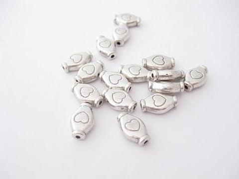 Lot de 30 perles tibétaines ovales avec motif cœur Couleur argent antique 11 x 7mm SP012
