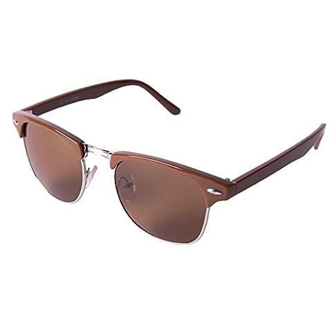 Rétro Vintage Clubmaster Lunettes de soleil avec 1/2 Cadre lunettes de soleil - CM Marron - marron
