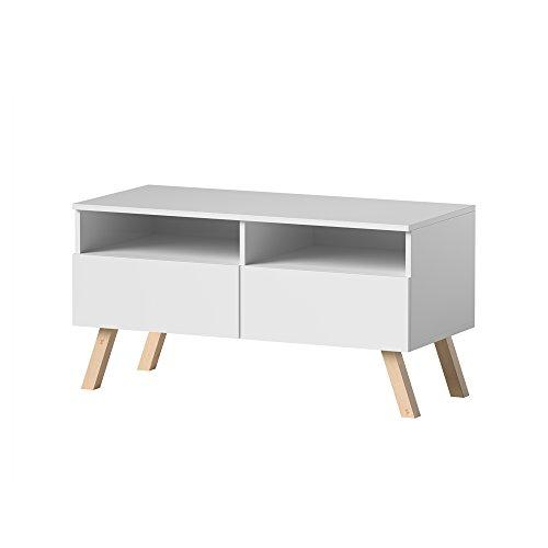 Siena Wood – Meuble TV/Table Basse TV (100 cm, Blanc Mat avec pieds en bois de hêtre et la LED)