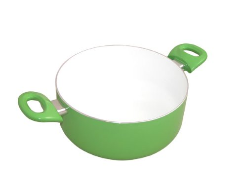 Ipac Pentola con rivestimento in ceramica, 22 cm, colore: Verde