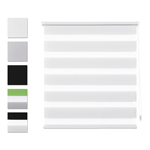 SBARTAR Double Store Enrouleur Jour Nuit 50 x 100 CM Blanc - Facile à Fixer sans Perçage Ni Forage avec Clips