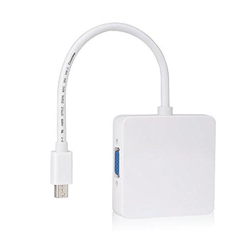 TopElek 3 in 1 Thunderbolt Port Mini auf HDMI DVI VGA Displayport Adapter Kabel für Apple MacBook Air, iMac, Mac Book Pro, Mac mini, Microsoft Surface Pro/ Pro 2/ Pro 3, Thinkpad / Carbon/ Touch/
