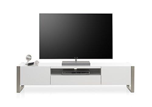 MCA furniture Meuble TV Contemporain Andrew 180 cm laqué Blanc Mat, pietement métal brossé