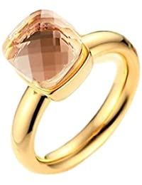 Asma Gold Brown Glass Stone 18k Rose Gold Plated Stainless Steel Ring For Women